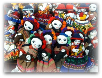 crowd of handmade dolls