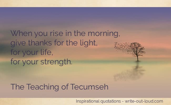 Graphic: delicate sunrise - haze of purple/pink sky - tree with flock of birds. Text: When you rise in the morning, give thanks for the light, for your life, for your strength. Tecumseh