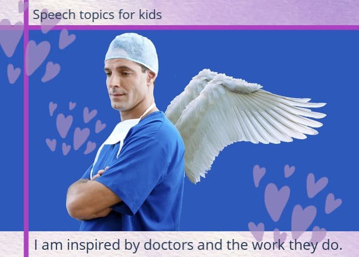 Image: young male doctor in scrubs with angel wings.Text: I am inspired by doctors and the work they do.