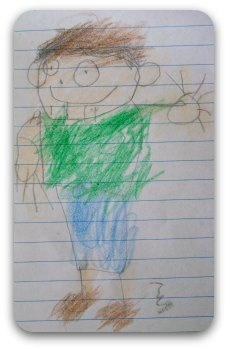 Child's drawing of a boy