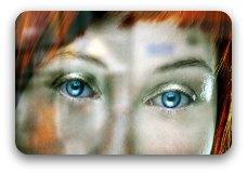 A girl's blue eyes.
