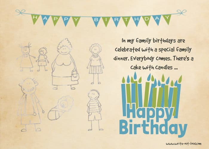 Image:line drawings of family members, plus birthday bunting. Text:In my family birthdays are celebrated with a special family dinner.