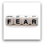 letter cubes spelling fear