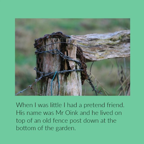 My imaginary friend Mr Oink lived on top of a fence post like this one.