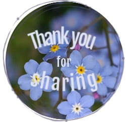 Image: Blue forget-me-nots circle. Text: Thank you for sharing