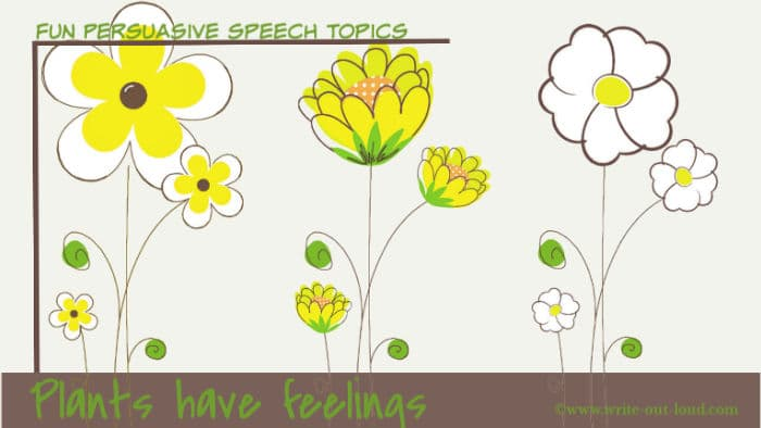 Image: drawing of a line of simple flowers. Text: Plants have feelings.