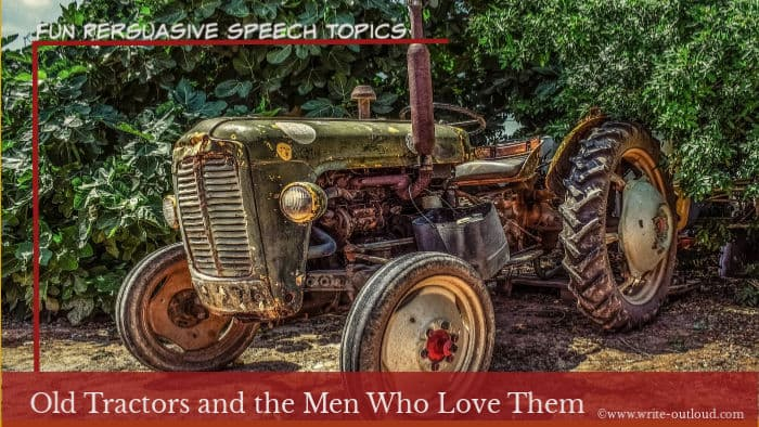 Image - vintage tractor. Text: Old tractors and the men who love them.