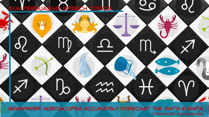 Image: the twelve signs of the zodiac Text: Newspaper horoscopes accurately forecast the day's events.