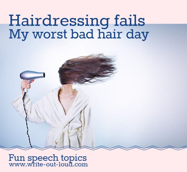Image: women drying her hair.Text: Hairdressing fails. My worst bad hair day.