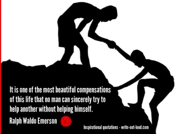 Graphic: black and white image of boy giving another a helping hand to climb a mountain. Text: Ralph Waldo Emerson quote about helping others.