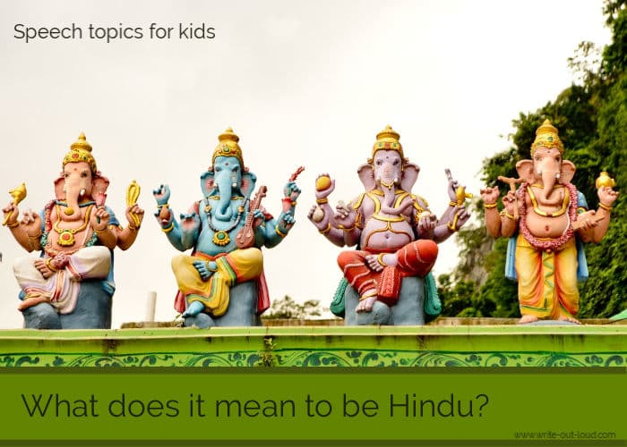 Image: 4 Hindu elephant sculptures in a line. Text: What does it mean to be Hindu?