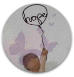Button: Drawing - a child holding a balloon containing the word