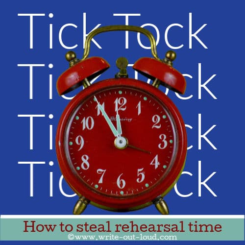 Image: red alarm clock on purple background. Text:How to steal rehearsal time.