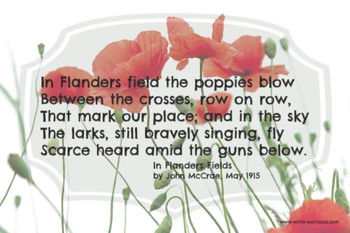 Image: red field poppies. Text:In Flanders fields the poppies blow Between the crosses, row on row ...