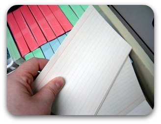 White lined index cards