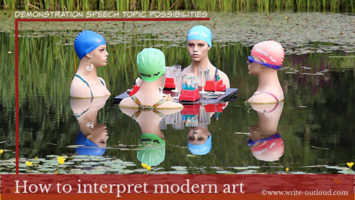 Image: a group of women mannequins in a pond wearing bathing caps, gambling!  Text: Demonstration speech topic possibilities-How to interpret modern art.