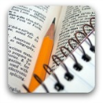 pencil , dictionary and notebook