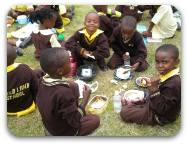 students at lunch, Birdland School, Lusaka, Zambia