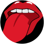 Vector graphic - Red open mouth with extended tongue