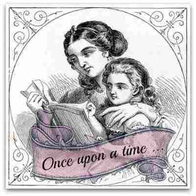 Vintage drawing of mother reading to a child -