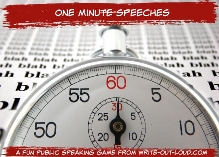 Image: stop watch superimposed over background saying blah, blah, blah ... Text: One minute speeches - a fun public speaking game.