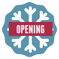 Speech opening button - snowflake on blue background.