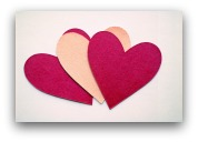Pink and red paper hearts