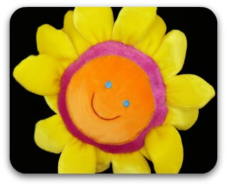 Yellow plush fabric smily flower