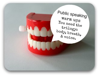 Public speaking warm ups -speech bubble on a set of plastic teeth