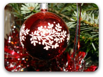 Red Christmas ball decoration hanging in a tree