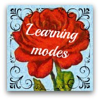 Red rose graphic. Text: Learning modes