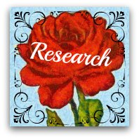 Red rose graphic. Text: Research