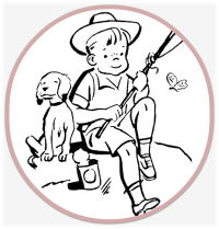 Retro black and white graphic- a boy fishing
