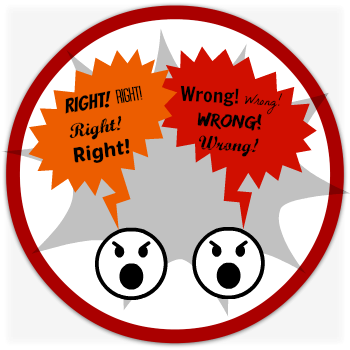 Controversial speech topics - right/wrong button