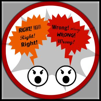 Controversial speech topics - right/wrong button