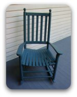 Blue rocking chair