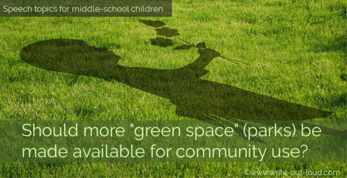 Image - shadow of a girl holding a flower on green grass. Text: Speech topics for middle school children. Should more 'green' space (parks) be set aside for community use?