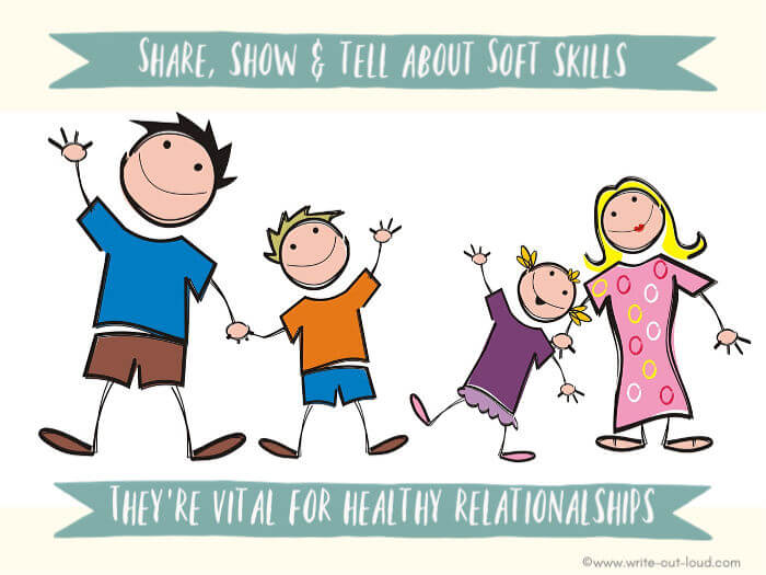 Image: cartoon - happy family - Father and son, Mother and daughter. Text:Share, Show and tell about soft skills. They're vital for healthy relationships.