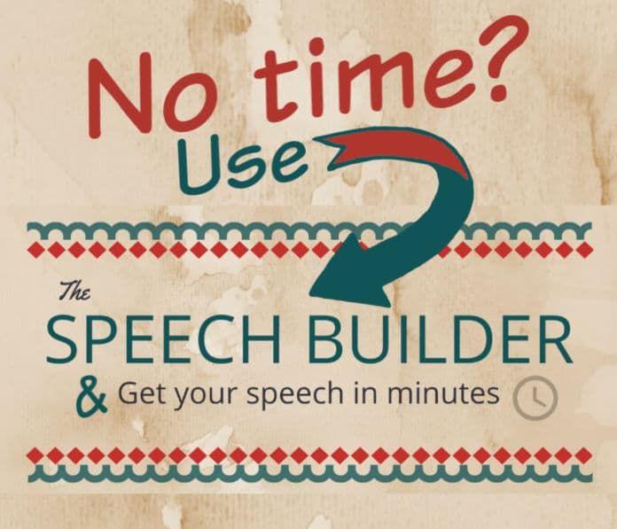 Graphic link to The Speech Builder - an app that 'writes' speeches.