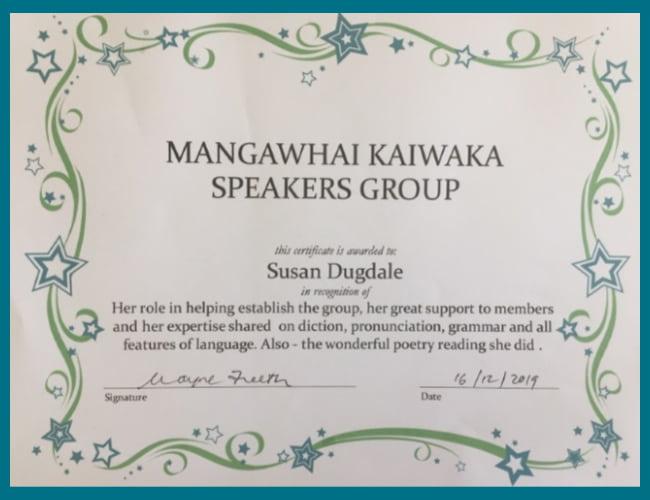 Image: Speech certificate from Mangawhai-Kaiwaka Speakers group -2019