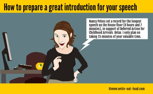 Image: smiling woman with a speech balloon.Text:How to prepare a great introduction for your speech.