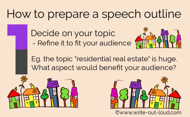 Image - rows of colorful 'cartoon' houses. Text:How to prepare a speech outline. Step 1 decide your topic & refine it to fit your audience.