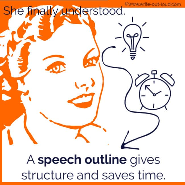 Image- girl with light bulb and clock. Text: She finally understood a speech outline gives structure and saves time.