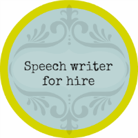Speech writer for hire - button