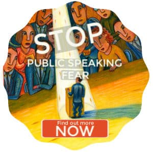Man standing in the spotlight in front of a podium, terrified of public speaking. Text: Stop public speaking fear.Find out more now.