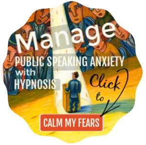 Image - man, terrified, standing in a spotlight in front of a crowd. Text: Manage public speaking anxiety with hypnosis. Click to calm my fears.