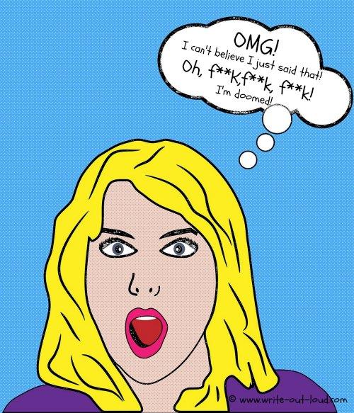 Young woman swearing