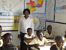 a Birdland school teacher with her students