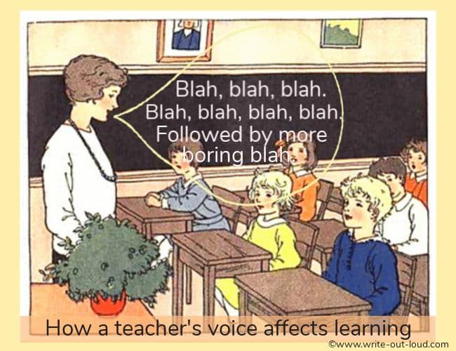 Young teacher standing in front of her class with a speech balloon saying Blah, blah, blah, blah...