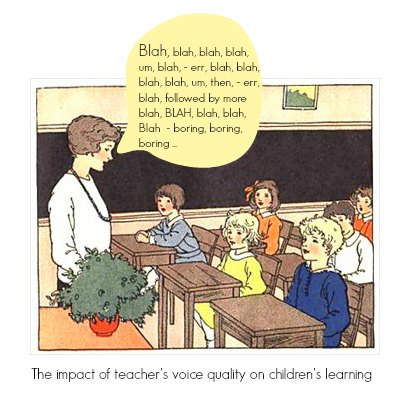 Young teacher standing in front of class with a speech balloon saying Blah, blah, blah, blah...